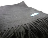 Pendleton wool blanket / black with fringe / vintage picnic blanket / camping throw / Lillehammer 1994 winter olympics souvenir CBS / RV
