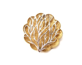 Beautiful Vintage Circular Signed Coro 3D / 3 Dimensional Silver & Gold Tone Mixed Metal Tree Branch or Sea Fan Coral Brooch