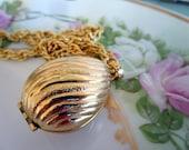 Vintage Pendant Egg Perfume Locket By Avon