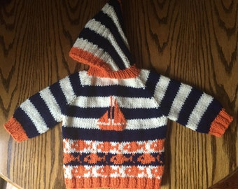 Baby Sweater Hand Knit Hooded Back Zip Hoodie 6 to 12 Mths Navy Orange Sailboat Fish  Acrylic Blend Free US Shipping