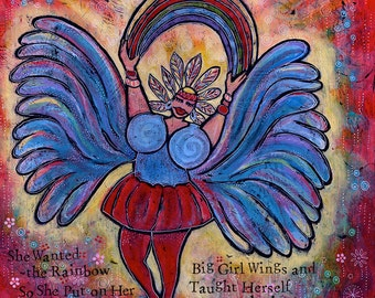 Colorful Archival Paper Print - Big Girl Wings