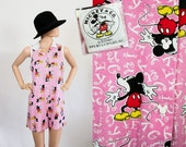Vintage 90s Romper / 1990s Mini Dress Jumper / Novelty Print Mickey Mouse / Iconic Disney / Grunge Onesie / Playsuit / Small / Medium