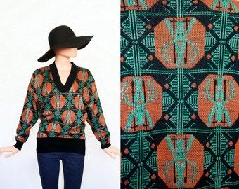 Vintage Halloween Sweater / Abstract Graphic Print  Knit Top / Geometric Shirt / Metallic / Autumnal / Small / Medium