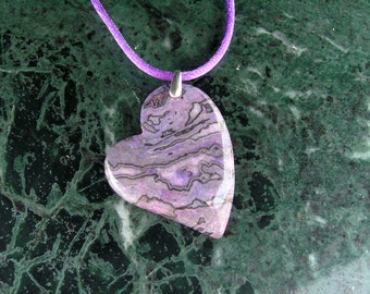 Leopard Skin Jasper Heart Pendant Necklace with Sterling Silver Bail & Purple Satin Cord