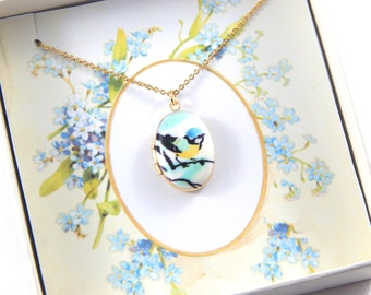 Gold Locket - Small Oval Locket Necklace Enamel Bird Locket