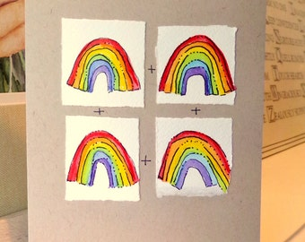 "Rainbow Love  Watercolor Original  Kraft Tan Card 5"""" x 6.7/8"" & Envelope  betrueoriginals"