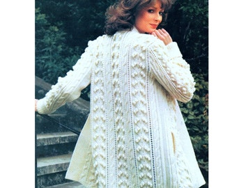 INSTANT DOWNLOAD PDF Vintage Knitting Pattern   Edge to Edge  Aran Jacket Swing Coat Cardigan Cable