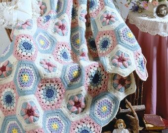 Vintage Crochet Pattern  Granny Floral Hexagon Afghan Throw Blanket Retro INSTANT DOWNLOAD PDF