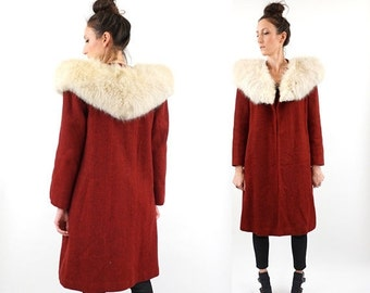 SALE vintage 50s dark RED wool FOX fur collar swing Coat M