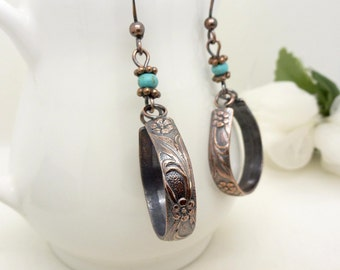 Long copper hoop earrings with turquoise, handmade patterned copper jewelry