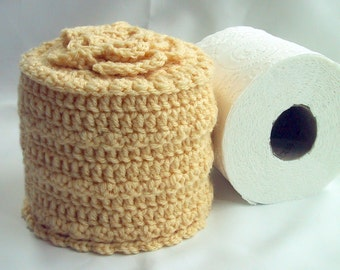 Cover Your Spare - Toilet Paper Cover w- Flower on Top - TP Cozy - Crocheted - Acrylic Yarn - Cornmeal Yellow Color - Bed & Breakfast Decor