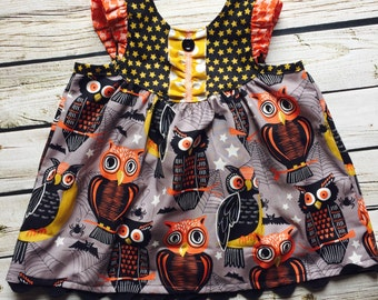 Girl's Halloween Owls Tunic or Dress- From the Fall 2016 Collection by Melon Monkeys