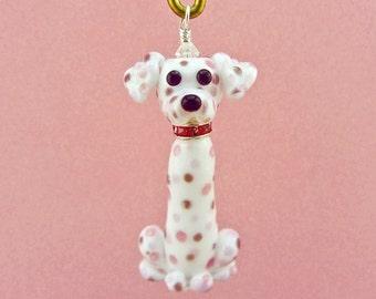 Pink Dalmatian - Pendant - Handmade Lampwork Creation SRA