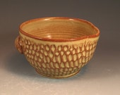 Textured Batter Bowl in  Shino Glaze- thrown on potter's wheel with handle and spout