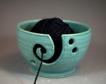 READY TO SHIP- Yarn Bowl in Antique Jade Glaze  thrown on Potter's Wheel