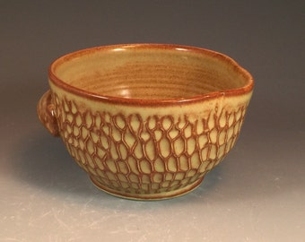 Textured Batter Bowl in Shino Glaze- thrown on potter's wheel with handle and pouring spout