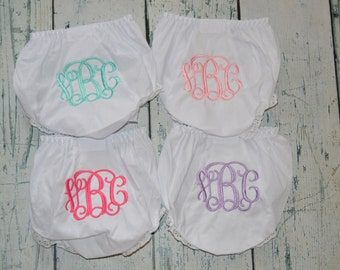 SET OF 4 Personalized Bloomers  monogram diaper cover