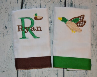 Personalized Mallard Duck Burp Cloth Set of 2 Burpies