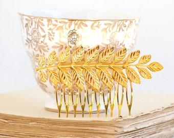 Gold LEAF Branch Hair Comb Woodland Fern Whimsical Nature Bridal Gold LEAF Fairy Wedding