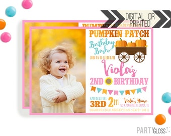 Pumpkin Patch Invitation | Digital or Printed | Pumpkin Party | Pumpkin Photo Invite | Girly Pumpkin | Girl Pumpkin Invitation | Pumpkin