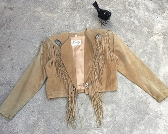 1990s Vintage Scully Jacket - Cropped Suede Leather Jacket with Conchos and Fringe - Western Southwestern - Rodeo Cowgirl Ranch - Size 10