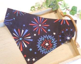 "Dog Bandana...Slip on Design...Slides Over Collar...""July Forth Fireworks""...Small, Medium and Large"