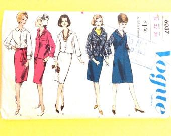 Vogue 6037 1960s Separates  Skirt Jacket Blouse Vintage Sewing Pattern 1950s   Bust 32