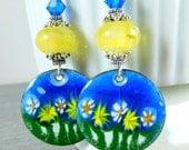Blue Yellow White Floral Enamel Dangle Earrings, Yellow Boro Lampwork Glass Earrings, Summer Garden Earrings, Enameled Copper, Boho Chic