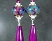 Purple Magenta Pink Teal Blue Glass & Long Jade Teardrop Dangle Earrings, Colorful Boho Chic Jewelry, Sterling Silver, Gypsy, Boro Lampwork