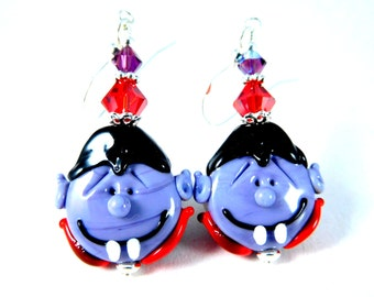 Vampire Earrings, Halloween Earrings, Count Dracula Earrings Monster Earrings Purple Red Black Lampwork Earrings Scary Creepy Funny Earrings