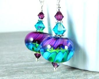 Purple Teal & Blue Glass Dangle Earrings, Fun Earrings, Bright Color Jewelry, Neon Earrings, Lampwork Earrings, Whimsical Jewelry, Playful