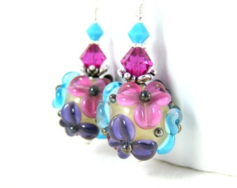 Floral Dangle Earrings, Colorful Pastel Drop Earrings, Turquoise Blue Pink Purple Earrings, Botanical Lampwork Earrings, Flower Earrings