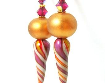 Spiral Stripe Spike Earrings, Shimmering Gold Purple Ivory Funky Earrings, Unique Earrings, Unusual Earrings, Blown Glass, Lampwork Earrings