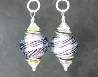 Sparkling White & Silver Dichroic Glass Earrings, Sterling Silver Dangle Earrings, Modern Earrings, Drop Earrings, Lampwork Earrings