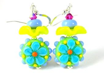 Bright Colorful Flower Earrings, Ruffle Earrings, Hippie Earrings, Funky Jewelry, Glass Dangle Earrings, Teal Blue Green Yellow Lampwork