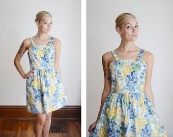 1980s Floral Cotton Sundress - S