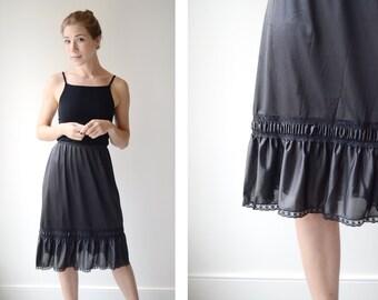 60s Black Nylon Slip Skirt - S/M Half Slip