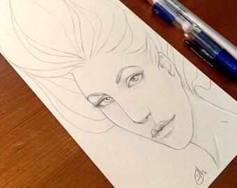 Doodle Lines - 5.25x8.5in Original Pencil Drawing, Artwork, Graphite, Woman, Face, Art Nouveau, Quick Sketch, Sketchbook, Fantasy