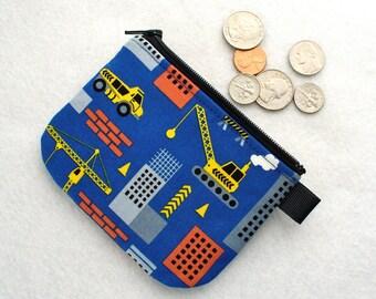 Boys Coin Purse City Construction Mini Coin Purse Little Zipper Change Purse Dump Truck Crane Wrecking Ball Handmade MTO