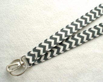 Dark Gray and White Chevron Zig Zag Fabric Lanyard Breakaway Lanyard Designer ID Badge Holder Clip Key Ring Fob Zigzag MTO