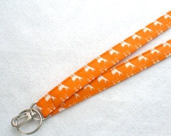 Tiny Deer Fabric Lanyard Badge Holder Breakaway Lanyard Designer Fabric ID Clip Key Ring Fob Momo Orange Cream