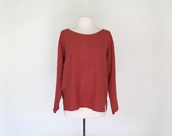PAPRIKA // 90 red orange silk long sleeve minimalist blouse / M L
