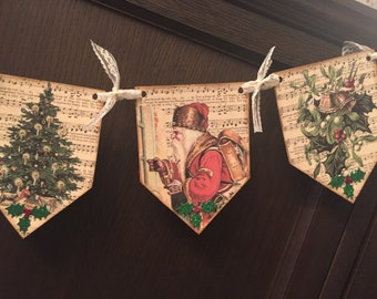 Vintage inspired Christmas banner / garland, with crystal rhinestones