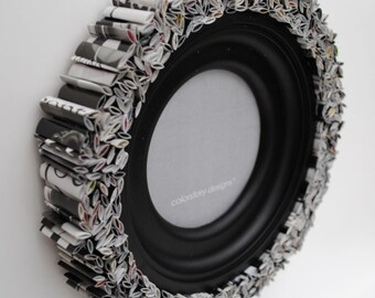 colorful ROUND black picture frame - made from recycled magazines, black, white and grey, frame, unique, modern, monochrome, classic