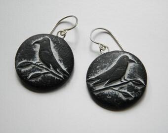 Black Bird Raven Earrings- Polymer Clay Earrings- dangle disk earrings