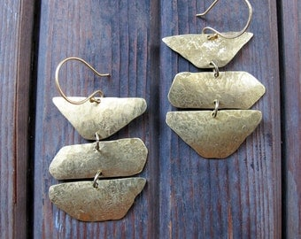 Wander Trio - Hand Crafted Brass Earrings - Long Statement Elegant Rustic Brass Earrings - Rustic Texture Earrings