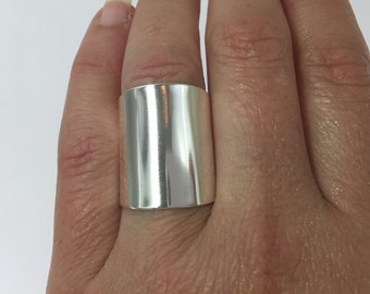 Cuff Ring, Wide Band Ring,  Cigar Ring, Sterling Silver Ring,  Hammered Smooth