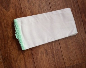 Hand crocheted edge burp cloth