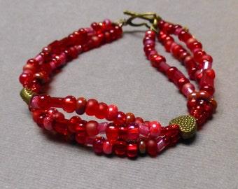 Multi-Strand Glass Beaded Bracelet. Heart. Poppy Red. Valentines Day. Seven Inch Bracelet. Handmade Jewelry.