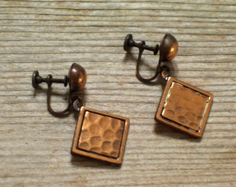 Vintage Rebajes Earrings, Hammered Copper Earrings, Vintage Copper Screwback Dangle Earrings, Geometric Copper Earrings, Mid Century Modern